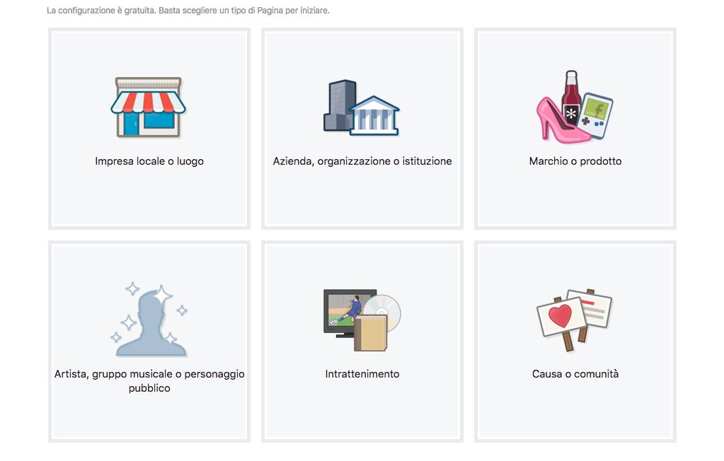 Aprire un negozio su Facebook creazione pagina